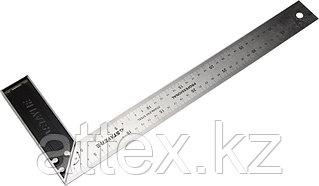 """Угольник STAYER """"PROFI"""" столярный, гравированная шкала, нержавеющее полотно 37мм, 400мм  3431-40_z01"""