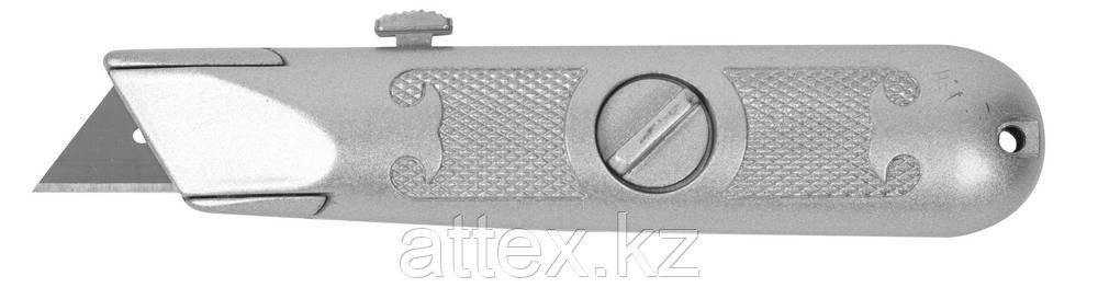 """Нож ЗУБР """"МАСТЕР"""" с трапециевидным лезвием тип А24, метал. корпус, выдвижное лезвие с автоматической  09220_z01"""