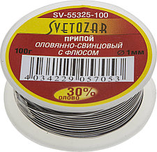 Припой СВЕТОЗАР оловянно-свинцовый, 30% Sn / 70% Pb, 100гр SV-55325-100