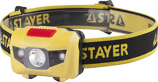 "Фонарь STAYER ""MASTER"" налобный светодиодный, 1Вт(80Лм)+2LED, 4 режима, 3ААА 56568"