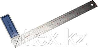 """Угольник ЗУБР """"ЭКСПЕРТ"""" столярный, гравированная шкала, алюминиевая рукоятка, нержавеющее полотно 37мм, 400мм 34393-40"""