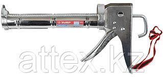 """Пистолет для герметика ЗУБР """"ПРОФЕССИОНАЛ"""" 06625, полукорпусной, хромированный, зубчатый шток, 310мл"""