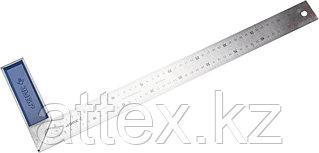 """Угольник ЗУБР """"ЭКСПЕРТ"""" столярный, гравированная шкала, алюминиевая рукоятка, нержавеющее полотно 37мм, 500мм 34393-50"""
