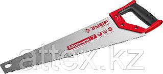 Ножовка универсальная (пила) ЗУБР МОЛНИЯ-7 450 мм, 7 TPI, закалка, рез вдоль и поперек волокон, для  1537-45_z01