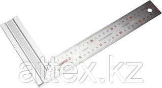 """Угольник ЗУБР """"ЭКСПЕРТ"""" столярный, усиленная алюминиевая рукоятка, нержавеющее полотно 37мм, длина 300мм 34394-30"""