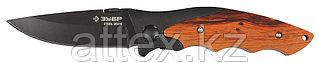 """Нож ЗУБР """"ПРЕМИУМ"""" СТРЕЛЕЦ складной универсальный, металлическая рукоятка с деревянными вставками, 185мм/лезвие 80мм 47711"""