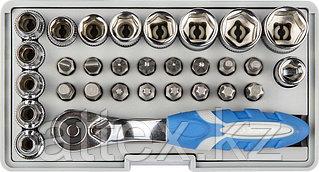 """Набор ЗУБР """"ЭКСПЕРТ"""": Биты 16шт,торцов головки с мини трещоткой 12шт,адаптер для бит SQ 1/4""""хHex 1/4"""",удлинит 1/4""""/80мм 26054-H31"""