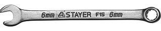 """Ключ STAYER """"MASTER"""" гаечный комбинированный, хромированный, 6х6 мм 27085-06"""
