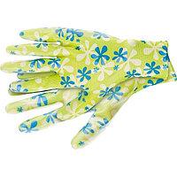 Перчатки садовые из полиэстера с нитрильным обливом, зеленые, L //PALISAD