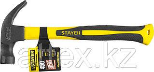"""Молоток-гвоздодер STAYER """"PROFESSIONAL"""" с магнитом и фиберглассовой рукояткой, 450г 2027-450"""