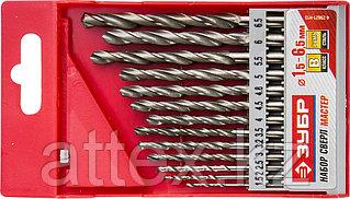 """Набор сверл по металлу 13 шт (d=1,5-6,5 мм), сталь Р6М5, класс В, ЗУБР """"МАСТЕР"""" 4-29621-H13"""