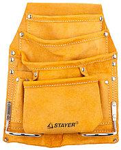 """Сумка поясная STAYER """"MASTER"""" для инструментов, кожаная, 8 карманов, 2 скобы 38505"""