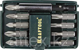 "Набор бит ""COMPACT-10"" с магнитным адаптером, KRAFTOOL 26130-H10, в мини бит-боксе, 10 предметов"