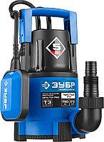 Насос Т3 погружной, ЗУБР Профессионал НПЧ-Т3-750, дренажный для чистой воды (d частиц до 5мм), 750Вт,пропуск. способ. 210л/мин,напор 8.5м,провод 10м, фото 1