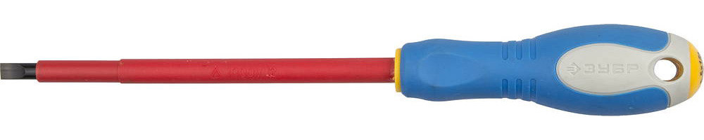 """ЗУБР """"ПРОФИ ЭЛЕКТРИК"""". Отвертка Cr-V, трехкомпонент рукоятка, высоковольтная до ~1000В, SL, 6,5x150 мм 25261-6.5-150"""