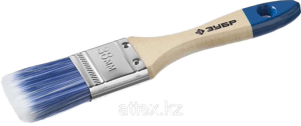 """Кисть плоская ЗУБР """"АКВА-МАСТЕР"""", искусственная щетина, деревянная ручка, 38мм 4-01007-038"""