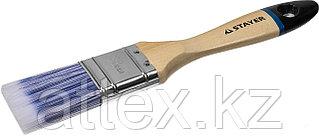 """Кисть плоская STAYER """"EURO"""", """"AQUA"""" для воднодисперсионных и акриловых ЛКМ, искусств щетина, деревя ручка, 1,5""""/38мм 01062-038"""