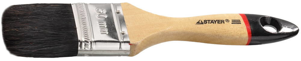"""Кисть плоская STAYER """"UNIVERSAL-EURO"""", чёрная натуральная щетина, деревянная ручка, 50мм 01022-050"""