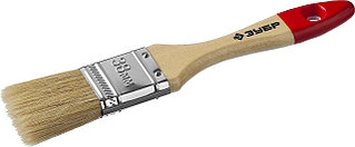 """Кисть плоская ЗУБР """"УНИВЕРСАЛ-МАСТЕР"""", натуральная щетина, деревянная ручка, 38мм 4-01003-038"""
