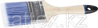 """Кисть плоская STAYER """"EURO"""", """"AQUA"""" для воднодисперсионных и акриловых ЛКМ, искусств щетина, деревян ручка, 2,5""""/63мм 01062-063"""
