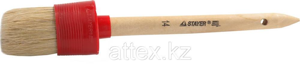 "Кисть круглая STAYER ""MASTER"", светлая натурал. щетина, пластм. корпус, деревян. ручка, №14 x50мм 0141-50"