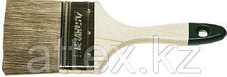 """Кисть плоская STAYER """"LASUR-STANDARD"""", смешанная (натуральная и искусственная) щетина, деревянная ручка, 100мм 01031-100"""