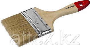 """Кисть плоская ЗУБР """"УНИВЕРСАЛ-МАСТЕР"""", натуральная щетина, деревянная ручка, 100мм 4-01003-100"""