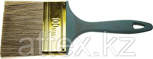 """Кисть ЗУБР """"КП-14"""" плоская, смешанная щетина, пластмассовая рукоятка, 100мм 4-01014-100"""