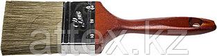 """Кисть плоская STAYER """"LASUR - LUX"""", деревянная ручка, смешанная щетина, 75мм 01051-075"""