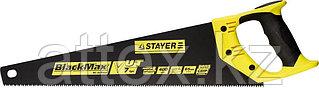 Ножовка универсальная (пила) STAYER BlackMAX 400 мм, 7TPI, тефлон покрытие, рез вдоль и поперек волокон, для средних заготовок, фанеры, ДСП, МДФ