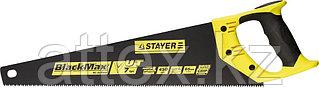 Ножовка универсальная (пила) STAYER BlackMAX 450 мм, 7TPI, тефлон покрытие, рез вдоль и поперек волокон, для средних заготовок, фанеры, ДСП, МДФ
