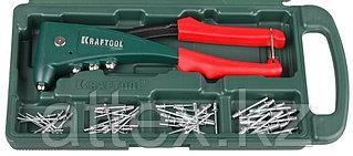 """Заклепочник, KRAFTOOL """"NX-5 31174-H6, усиленный литой к d=2,4-4,8 мм - Al и сталь, d=2,4-4,0 - нерж сталь, в боксе, с набором заклепок 31173-H6"""
