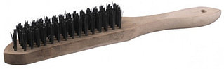 """Щетка STAYER """"MASTER"""" проволочная стальная с деревянной ручкой, 4 ряда 35020-4"""