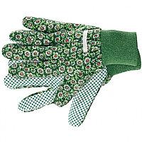 Перчатки садовые х/б ткань с ПВХ точкой, манжет, S //PALISAD
