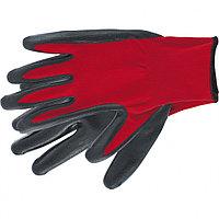 Перчатки полиэфирные с черным нитрильным покрытием маслобензостойкие, L, 15 класс вязки// Stels