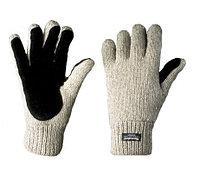 Перчатки шерстяные со спилковыми накладками Иней