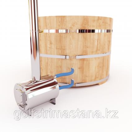 Купель-Фурако д. 200 см. из кедра / круглая / с внешней дровяной печкой