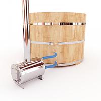 Купель-Фурако д. 200 см. из кедра / круглая / с внешней дровяной печкой, фото 1