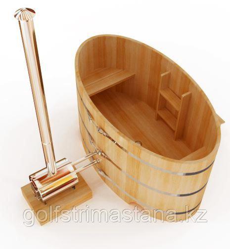 Купель с подогревом ш*д*в 120*200*120 см. / Фурако / из кедра / овальная / с внешней дровяной печкой