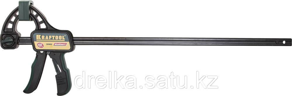 """Струбцина """"EcoKraft"""" ручная пистолетная, KRAFTOOL 32226-45, пластиковый корпус, 450/650мм, 150кгс"""