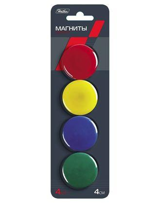 """Магниты для досок """"Hatber"""", 4см, цветные, 4шт в блистере с европодвесом"""
