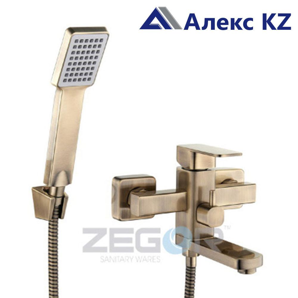 Смеситель  для ванны, одноручный, с литым поворотным изливом  ZEGOR LEB3-A123 KT ( цвет: бронза)