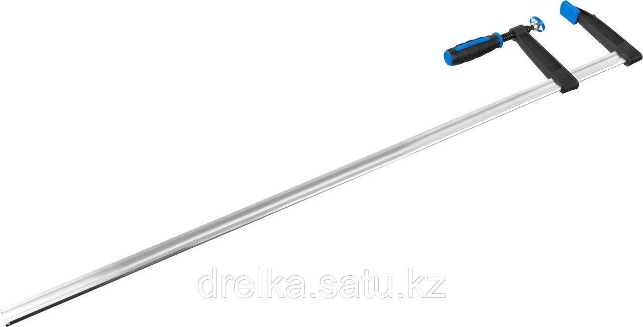 """Струбцина ЗУБР """"ПРОФЕССИОНАЛ"""", тип """"F"""", двухкомпонентная ручка, стальная закаленная рейка, 120х1000мм"""