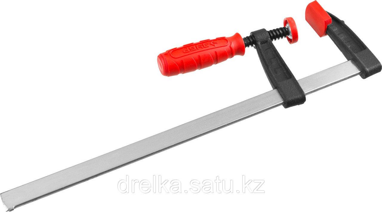 "Струбцина ЗУБР ""МАСТЕР"", тип ""F"", пластмассовая ручка, стальная закаленная рейка, 50х250мм"