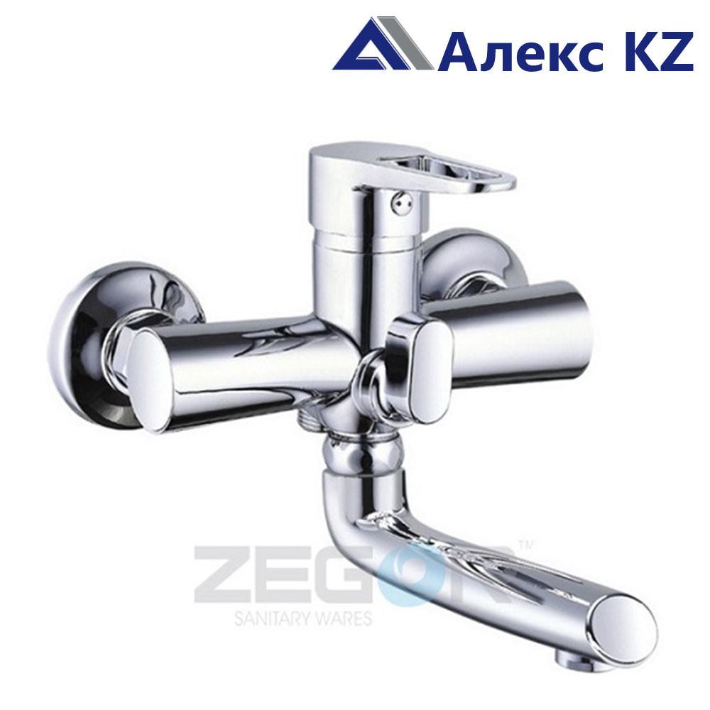 Смеситель для ванны, одноручный, с литым поворотным изливом ZEGOR PUD3-A045