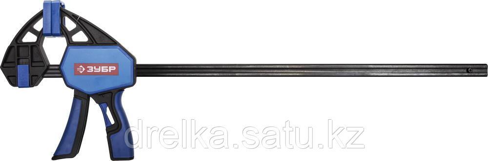 """Струбцина ЗУБР""""ПРОФЕССИОНАЛ""""ручная пистолетная, корпус нейлон,армир фиберглассом,двухкомп ручки,метал рейка"""