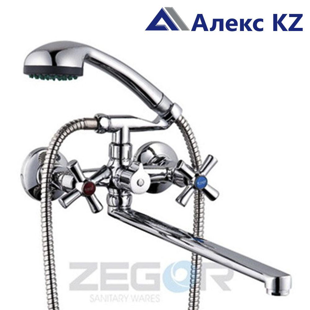 Смеситель для ванны, двуручный,  с плоским изливом  ZEGOR DMT7-B722