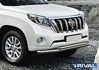 Защита переднего бампера d76+d57 + комплект крепежа, RIVAL, Toyota Land Cruiser Prado 2009-2013-2017
