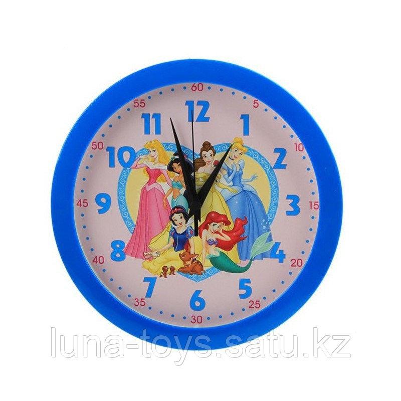 """Часы настенные круглые """"Принцессы"""" детские голубые"""