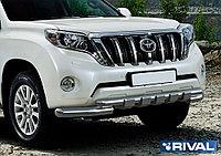 Защита переднего бампера d76+d57 с профильной защитой картера + комплект крепежа, RIVAL, Toyota Land Cruiser P